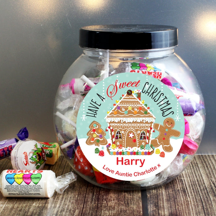 Buy Personalised Gingerbread House Sweet Jar