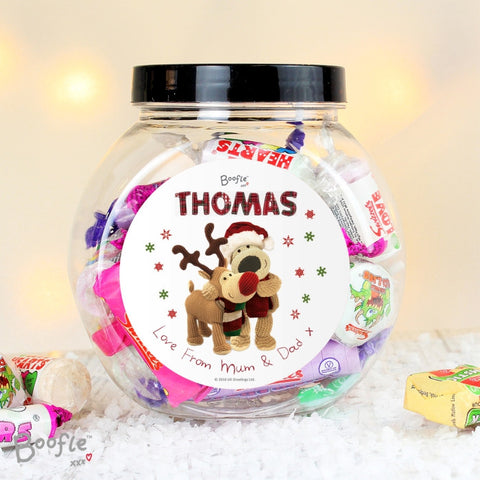 Personalised Boofle Christmas Reindeer Sweet Jar | ShaneToddGifts.co.uk