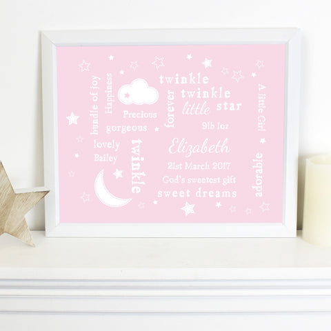 Buy Personalised Twinkle Twinkle Typography Pink Poster Frame