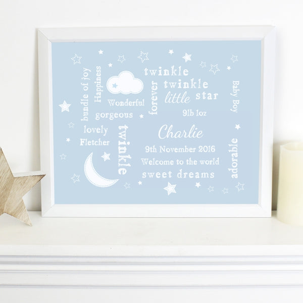 Buy Personalised Twinkle Twinkle Typography Blue Poster Frame