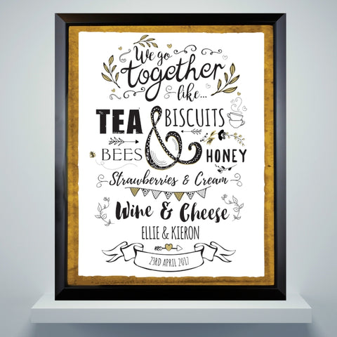 Personalised We Go Together Like... Black Poster Frame | ShaneToddGifts.co.uk