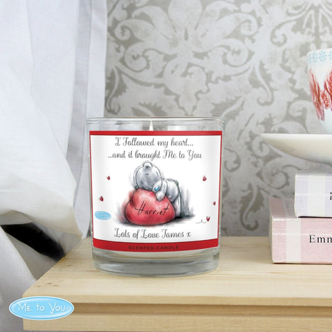 Personalised Me To You Heart Scented Jar Candle
