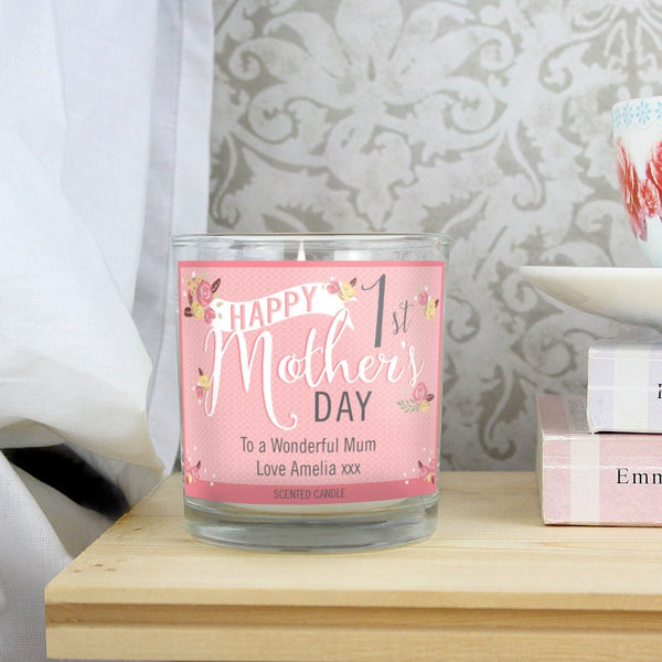 Personalised Floral Bouquet 1st Mothers Day Scented Jar Candle - Shane Todd Gifts UK