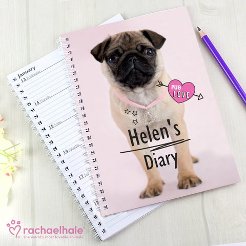 Personalised Rachael Hale Doodle Pug Diary | ShaneToddGifts.co.uk