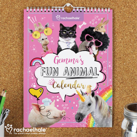 Personalised Rachael Hale Fun Animals A4 Wall Calendar | ShaneToddGifts.co.uk