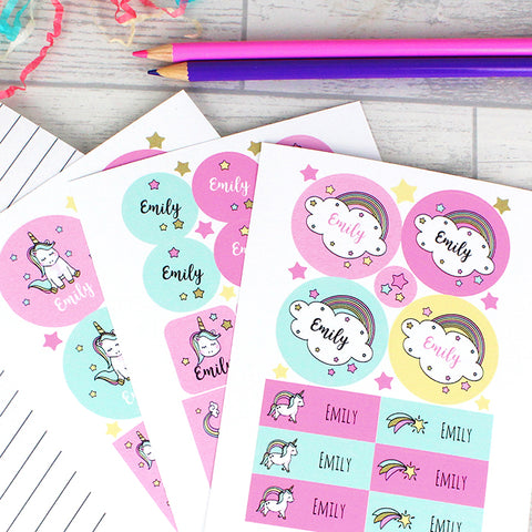 Buy Personalised Baby Unicorn Sticker Set