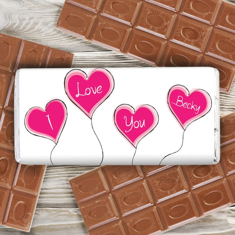 Personalised Heart Balloon Milk Chocolate Bar