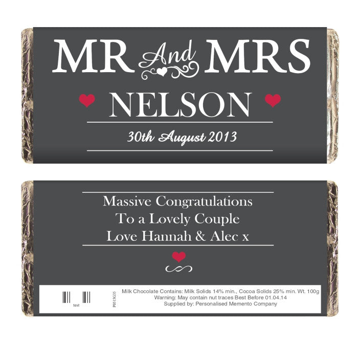 Personalised Mr & Mrs Milk Chocolate Bar, Food Items by Low Cost Gifts