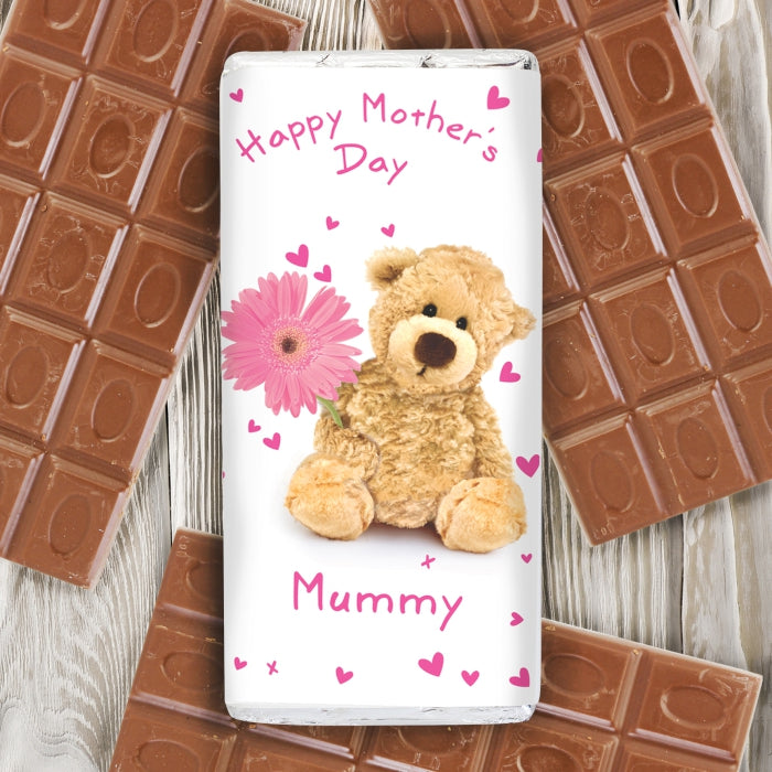 Personalised Teddy Flower Milk Chocolate Bar, Food Items by Low Cost Gifts
