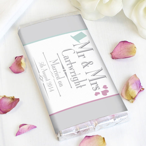 Personalised Decorative Wedding Mr & Mrs Milk Chocolate Bar - Shane Todd Gifts UK