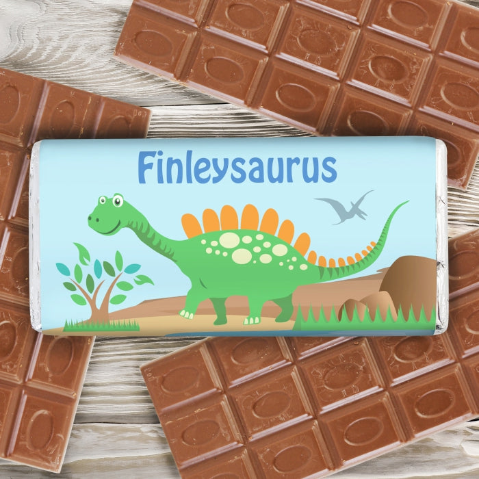 Personalised Dinosaur Milk Chocolate Bar, Food Items by Low Cost Gifts