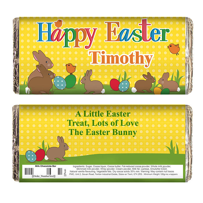 Personalised Easter Bunny Milk Chocolate Bar, Food Items by Low Cost Gifts