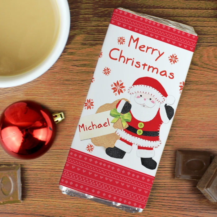 Personalised Felt Stitch Santa Milk Chocolate Bar, Food Items by Low Cost Gifts