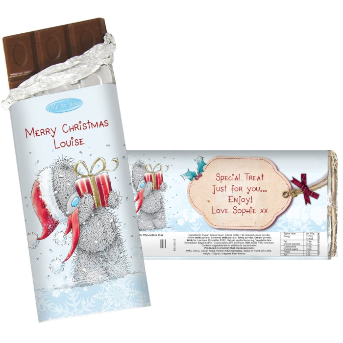 Personalised Me To You Christmas Milk Chocolate Bar, Food Items by Low Cost Gifts