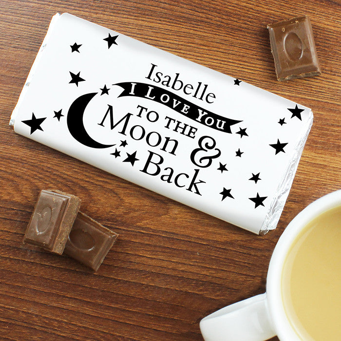 Personalised To the Moon and Back... Milk Chocolate Bar by Low Cost Gifts