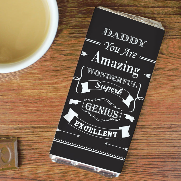 Personalised Vintage Typography Milk Chocolate Bar, Food Items by Low Cost Gifts