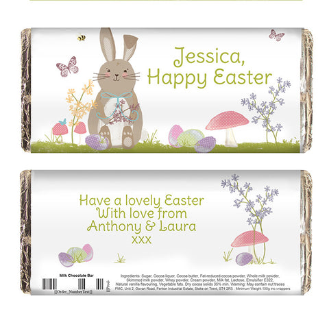 Personalised Easter Meadow Bunny Milk Chocolate Bar - Shane Todd Gifts UK