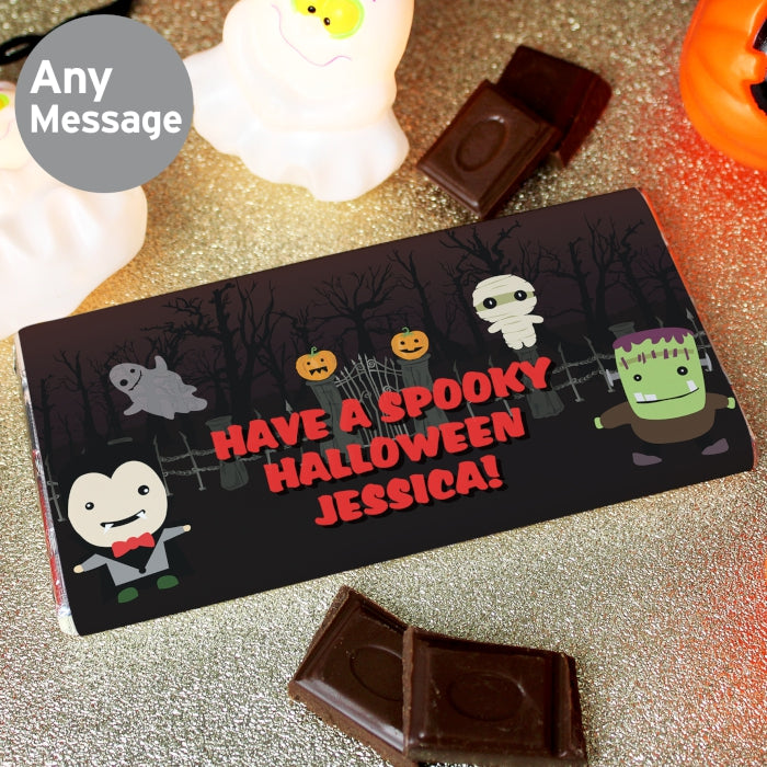 Personalised Halloween Milk Chocolate Bar by Low Cost Gifts