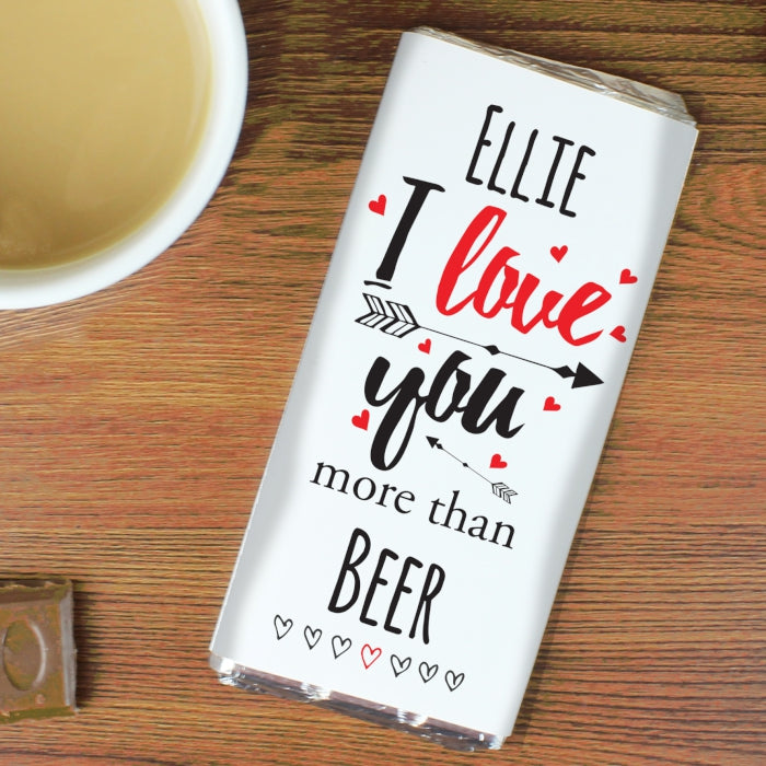 Personalised I Love You More Than... Chocolate Bar
