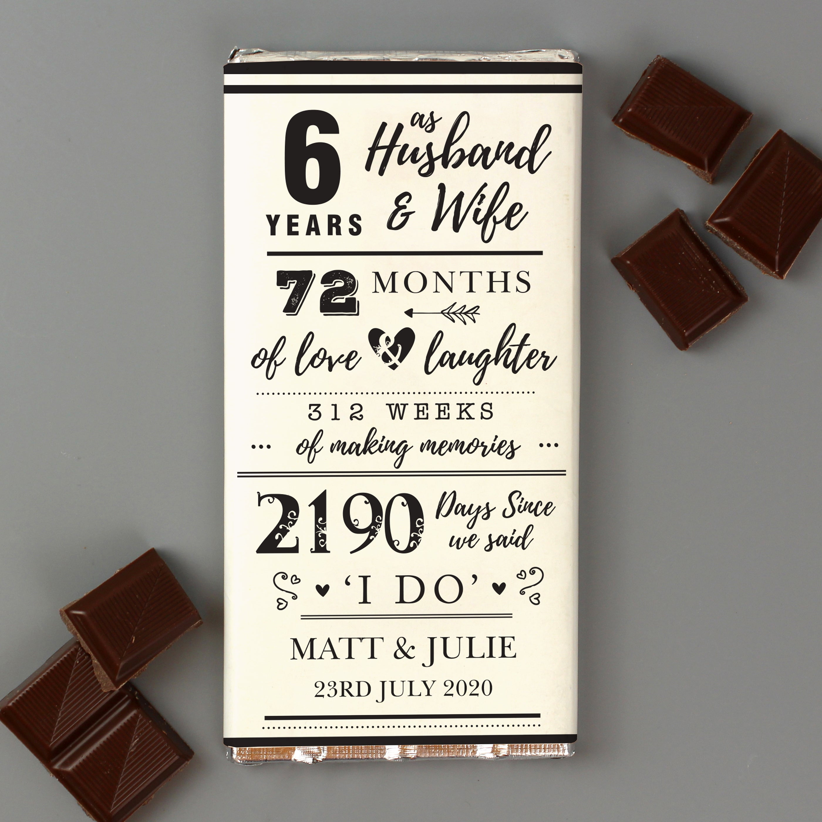 Personalised 6th Anniversary Milk Chocolate Bar, Food Items by Low Cost Gifts