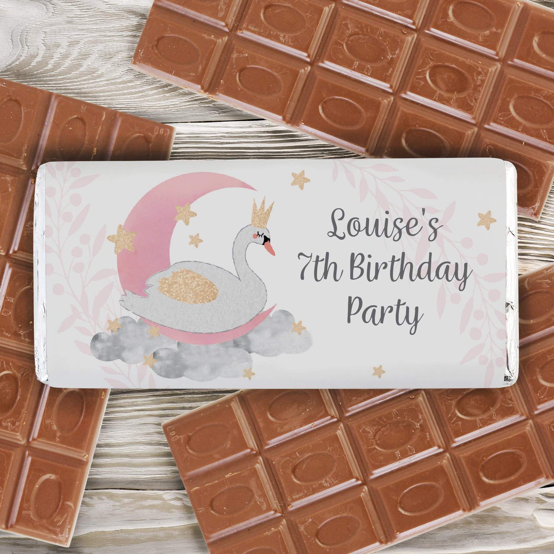 Personalised Swan Lake Milk Chocolate Bar, Food, Beverages & Tobacco by Low Cost Gifts