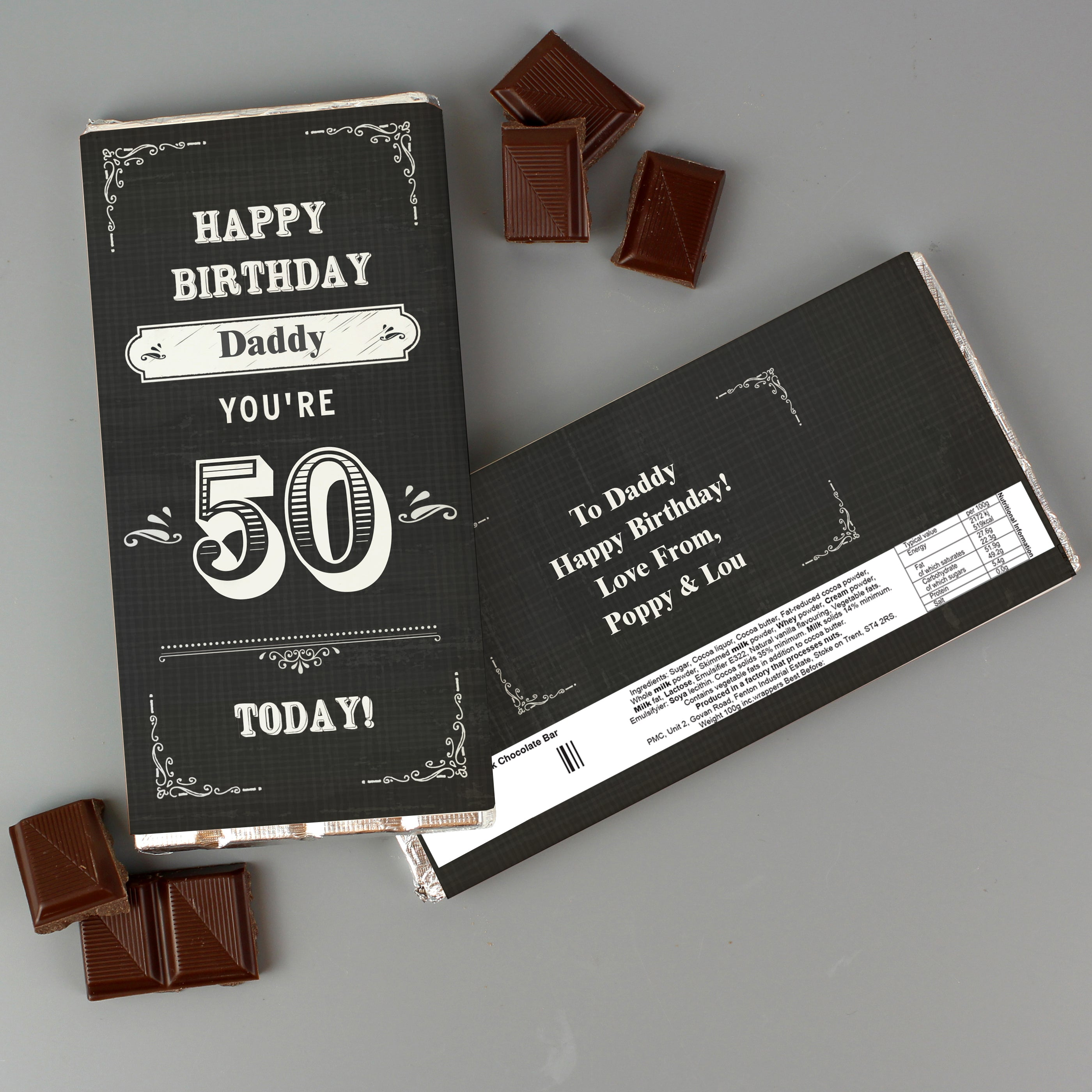 Personalised Birthday Vintage Typography Milk Chocolate Bar, Food Items by Low Cost Gifts