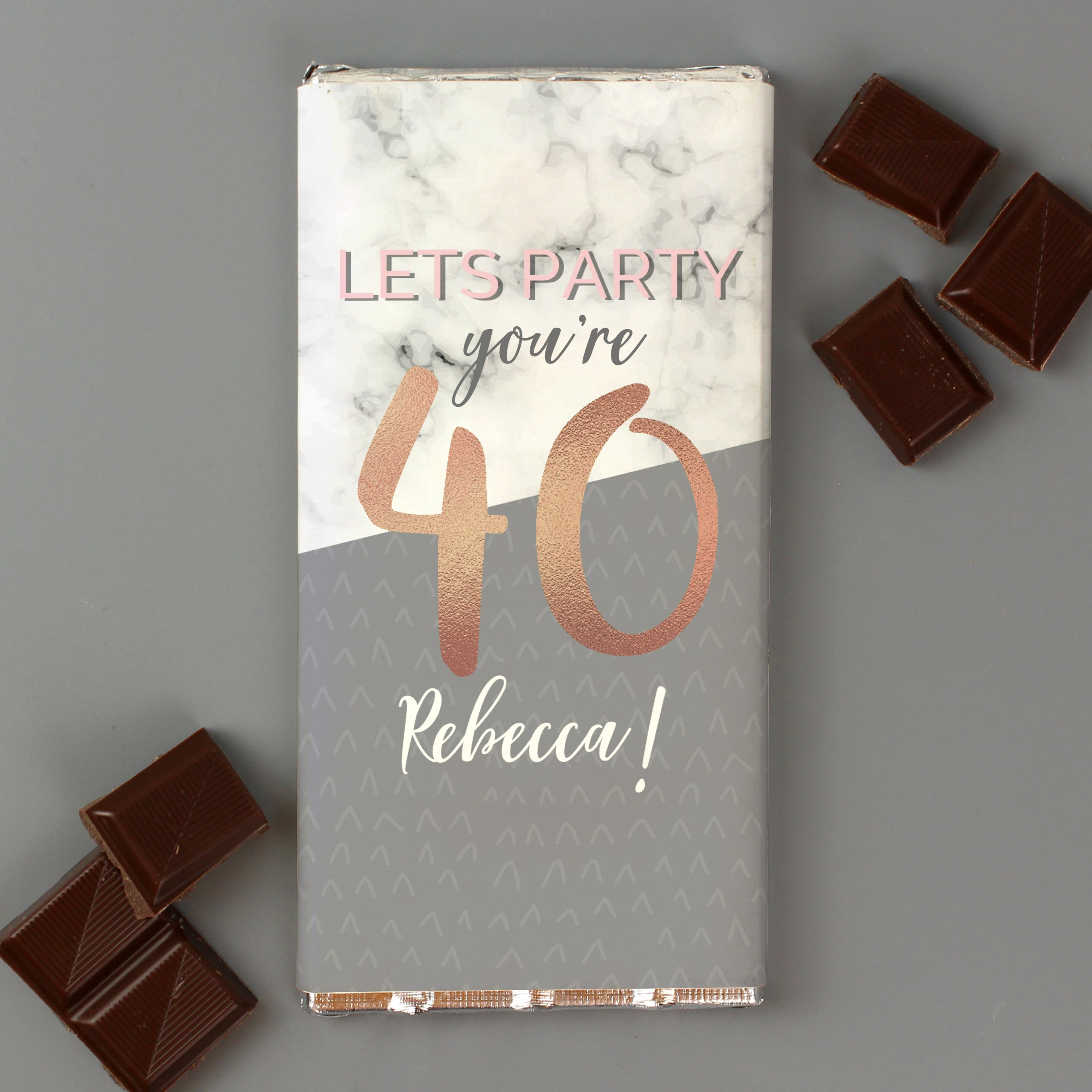 Personalised Birthday Marble and Rose Gold Chocolate Bar, Sweets & Chocolate - Image 1