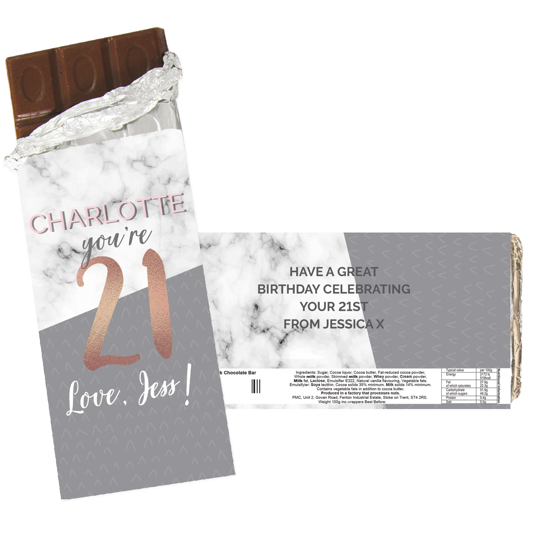 Personalised Birthday Marble and Rose Gold Chocolate Bar, Sweets & Chocolate - Image 2