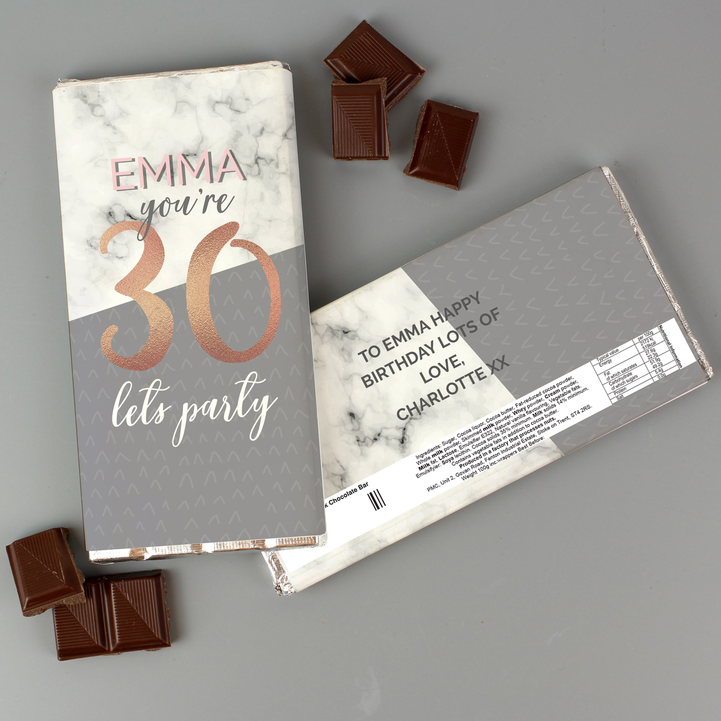 Personalised Birthday Marble and Rose Gold Chocolate Bar, Sweets & Chocolate - Image 3