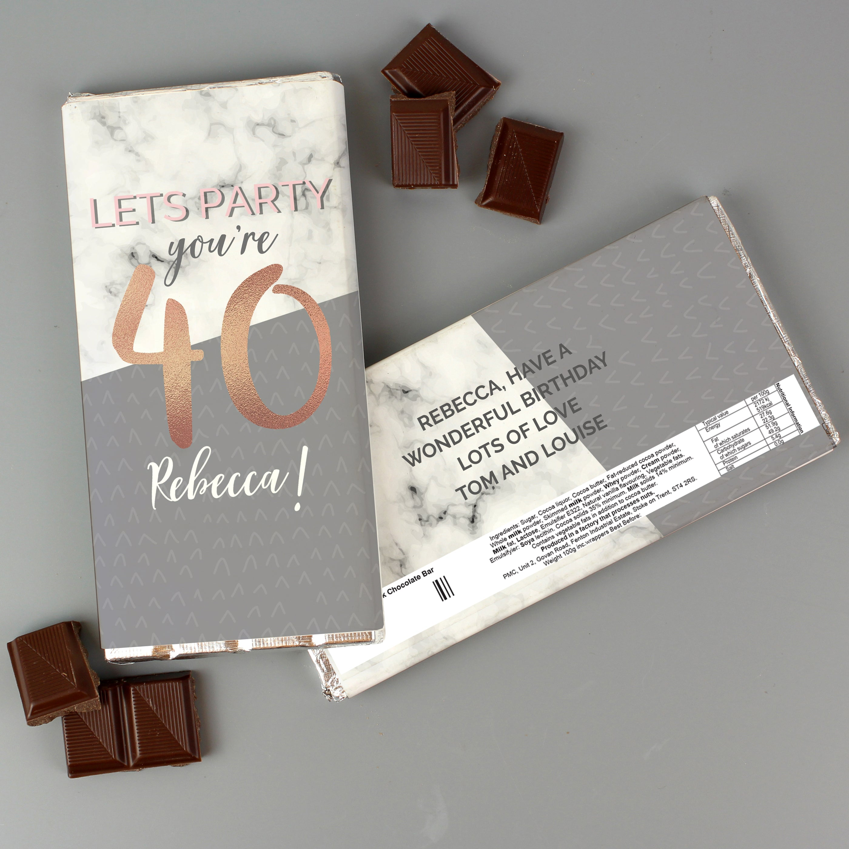 Personalised Birthday Marble and Rose Gold Chocolate Bar, Food Items by Low Cost Gifts