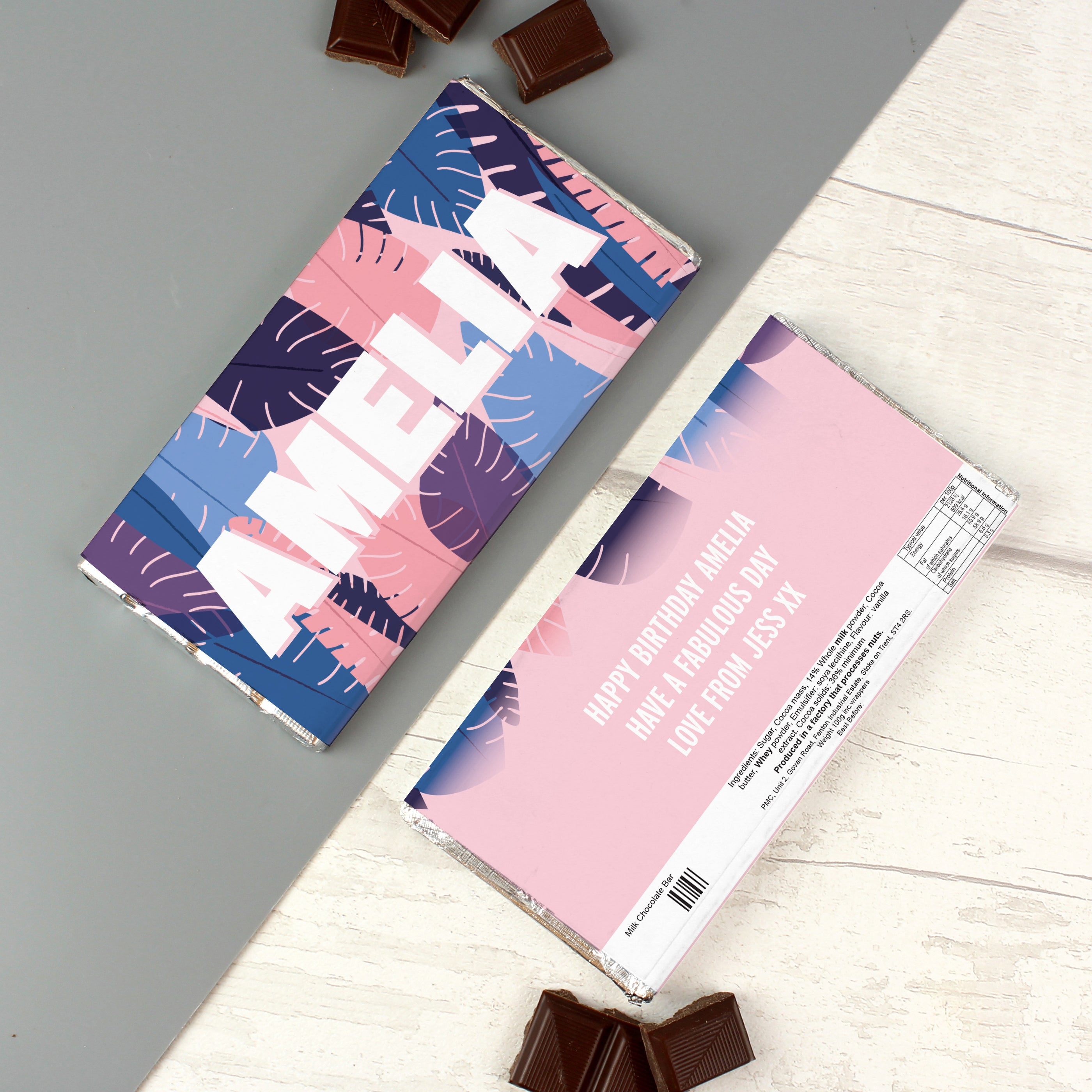 Personalised Palm Leaves Milk Chocolate Bar, Food Items by Low Cost Gifts