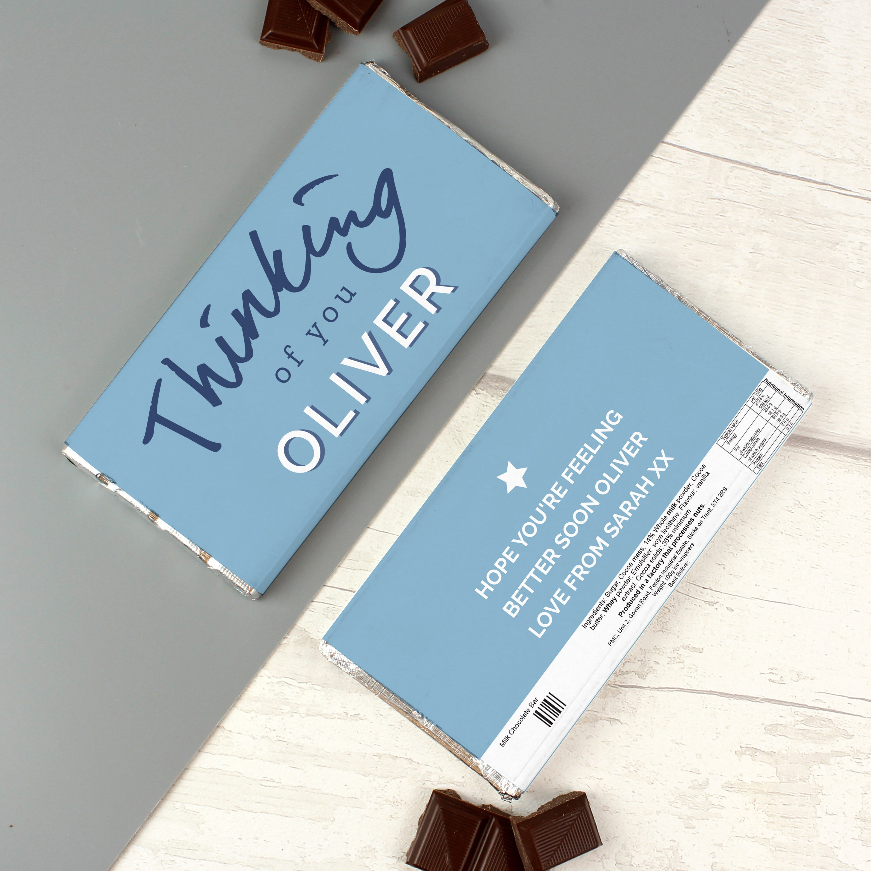 Personalised Thinking of You Milk Chocolate Bar, Food Items by Low Cost Gifts