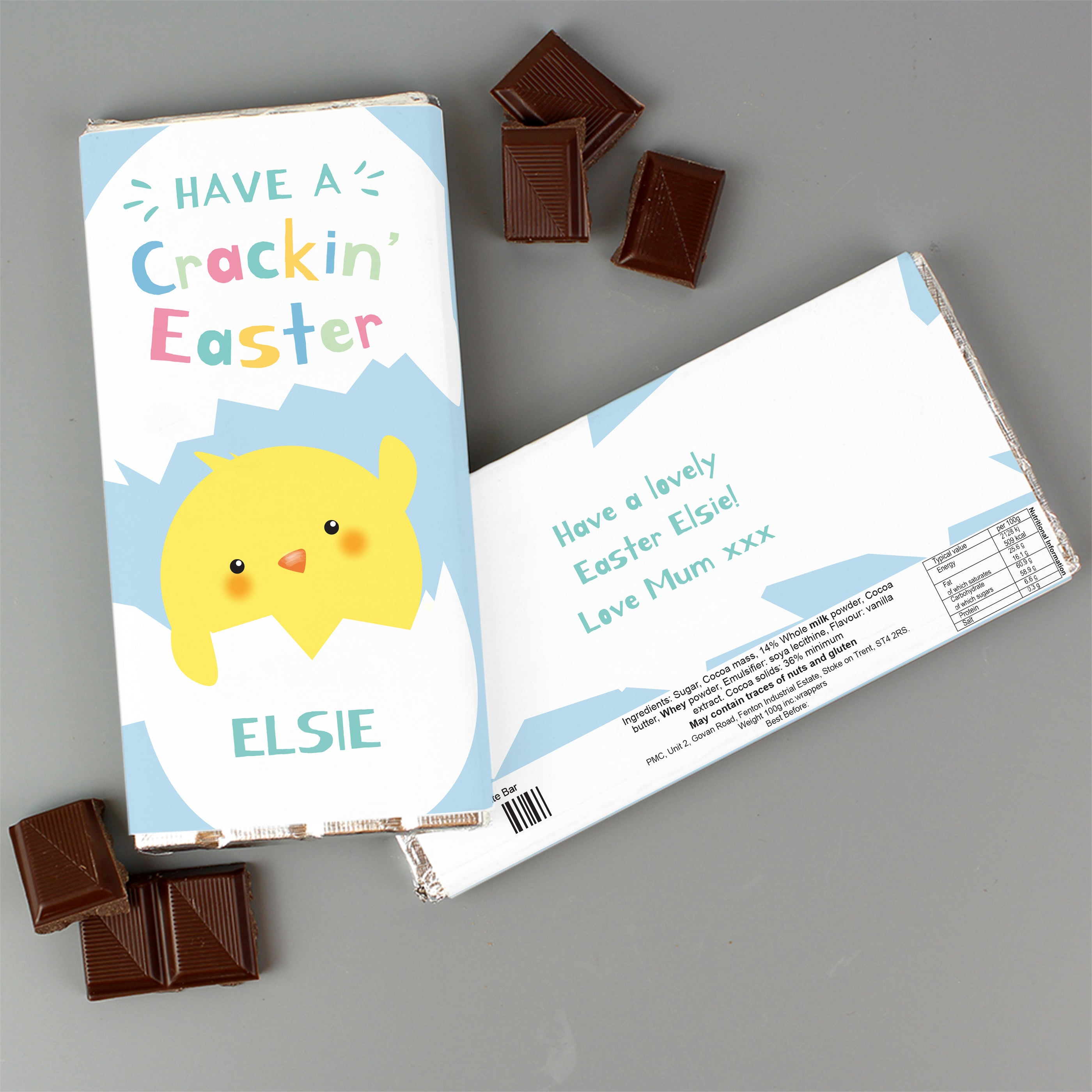 Personalised Have A Cracking Easter Milk Chocolate Bar, Food, Beverages & Tobacco by Low Cost Gifts