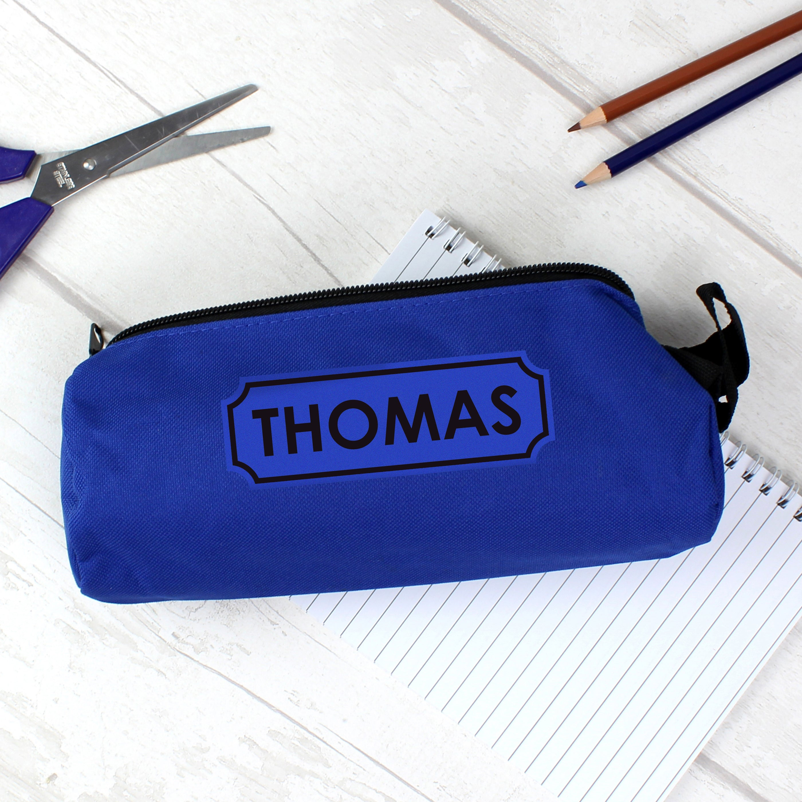 Personalised Blue Pencil Case, Office Supplies by Low Cost Gifts
