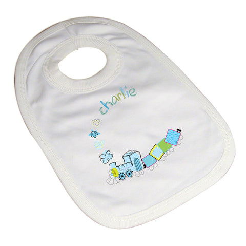 Buy Personalised Patchwork Train Baby Bib