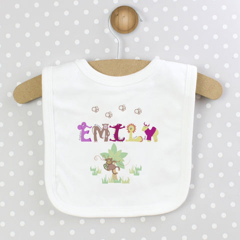 Buy Personalised Girls Animal Alphabet Bib