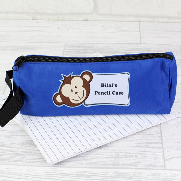 personalised-blue-monkey-boy-pencil-case