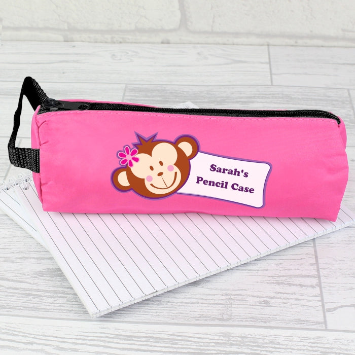 Personalised Monkey Pink Pencil Case, Office Supplies by Low Cost Gifts