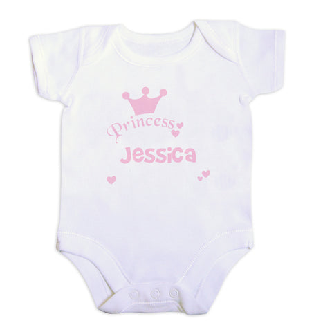 Personalised Princess Baby Vest Sized 0-3 months