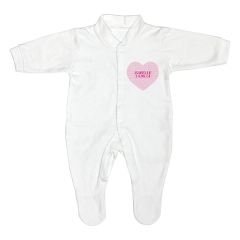 Personalised Sweet Heart 0-3 Months Babygrow
