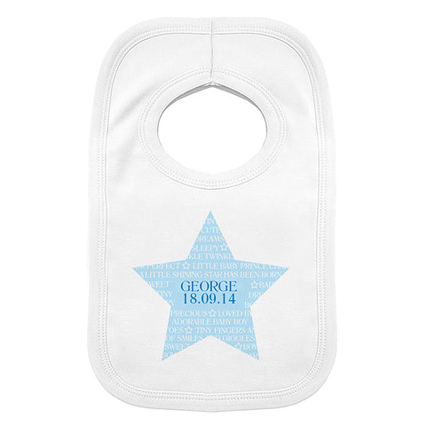 Personalised Shining Star 0-3 Months Baby Bib | ShaneToddGifts.co.uk