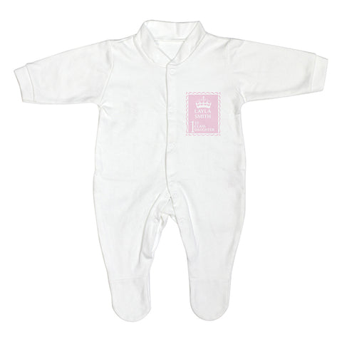 Personalised Pink 1st Class 0-3 Months Babygrow