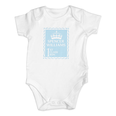 Buy Personalised Blue 1st Class 6-9 Months Baby Vest