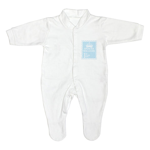 Buy Personalised Blue 1st Class 0-3 Months Babygrow