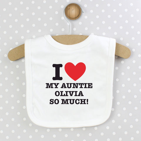 Buy Personalised I HEART 0-3 Months Baby Bib