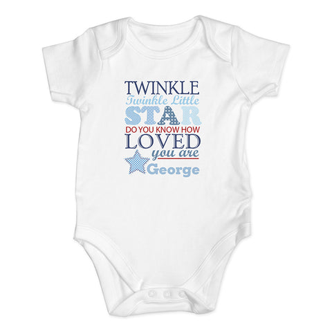 Buy Personalised Twinkle Boys 9-12 Months Baby Vest