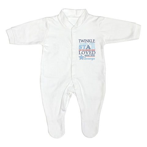 Buy Personalised Twinkle Boys 0-3 Months Babygrow