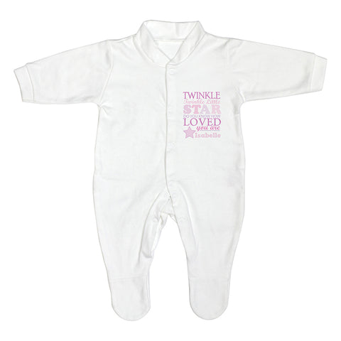 Personalised Twinkle Girls 0-3 Months Babygrow