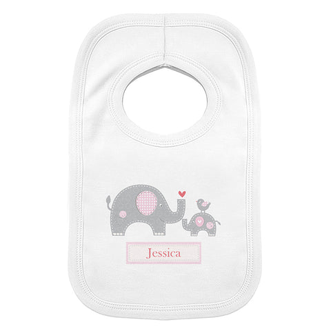 Buy Personalised Pink Elephant 0-3 Months Baby Bib