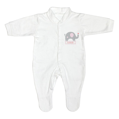 Personalised Pink Elephant 0-3 Months Babygrow